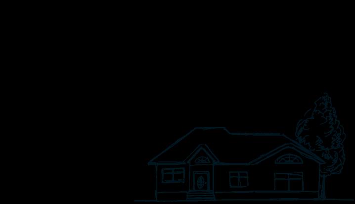 家に向かう家族のイラスト