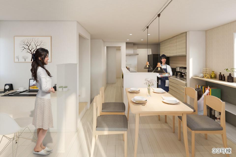 回遊型キッチンイメージ写真(33号棟)
